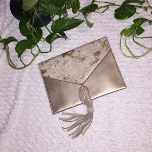 Urban Outfitters Street Level Cowhide Clutch Gold